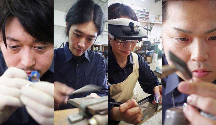 指輪作りをする職人たち
