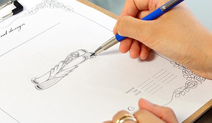 結婚指輪・婚約指輪のオーダーメイド工房アトリエクラムのデザイナーによるデザイン画