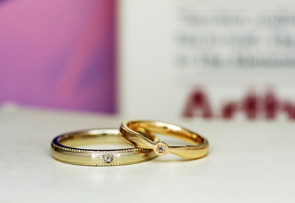 デザイン違いで素材違いの結婚指輪(マリッジリング)