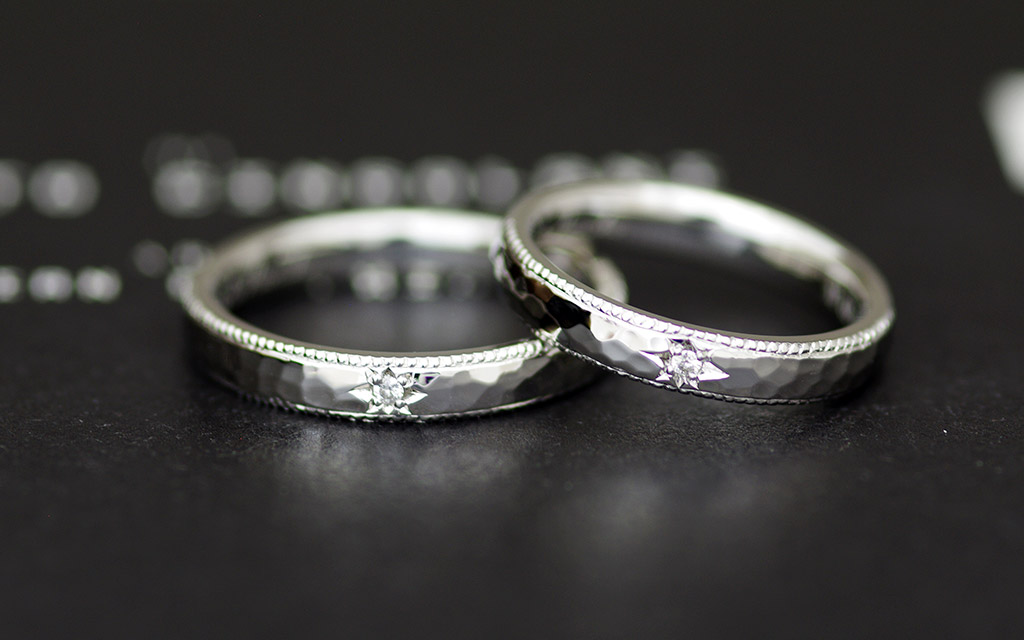アトリエクラム長岡店で仕立てたダイヤモンドが入るプラチナマリッジリング