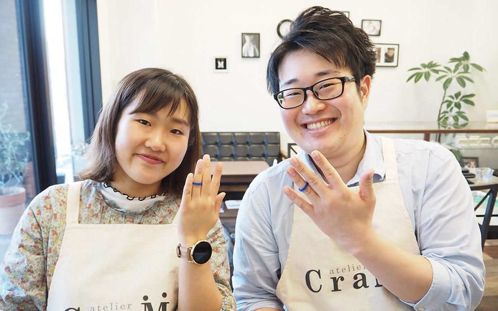 新潟のブライダルジュエリー専門店で結婚指輪を手作りしたカップル
