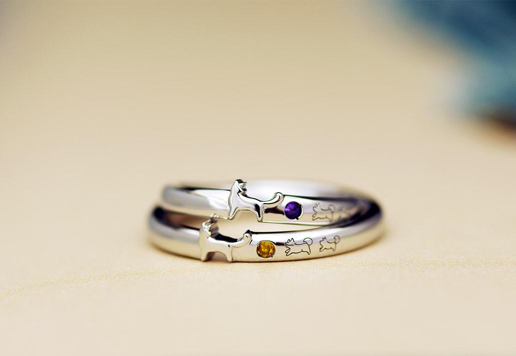 おふたりの大好きなラブラドールレトリーバーをモチーフにした結婚指輪(マリッジリング)