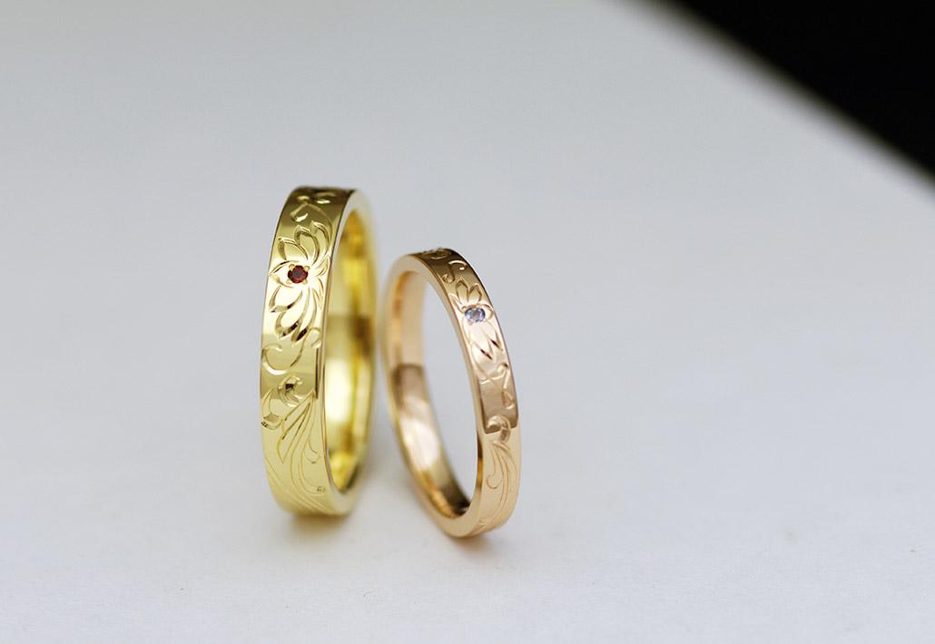 ピンクゴールドとイエローゴールドの平打ち結婚指輪