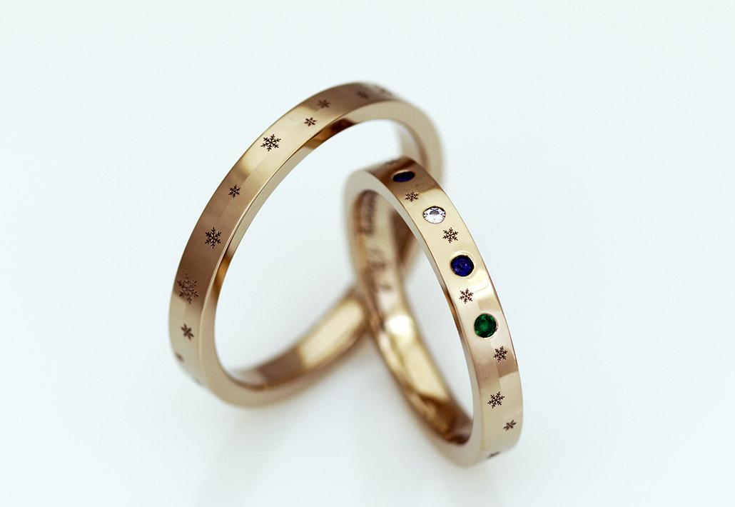 雪の結晶のデザインのセカンドマリッジリング(結婚指輪)