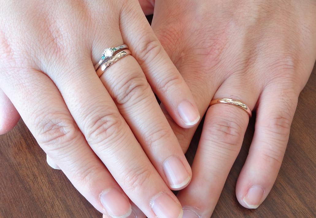 アトリエクラム長岡店で結婚指輪と婚約指輪を手作りした夫婦の指輪