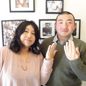 アトリエクラム長岡店で結婚指輪と婚約指輪を手作りした夫婦