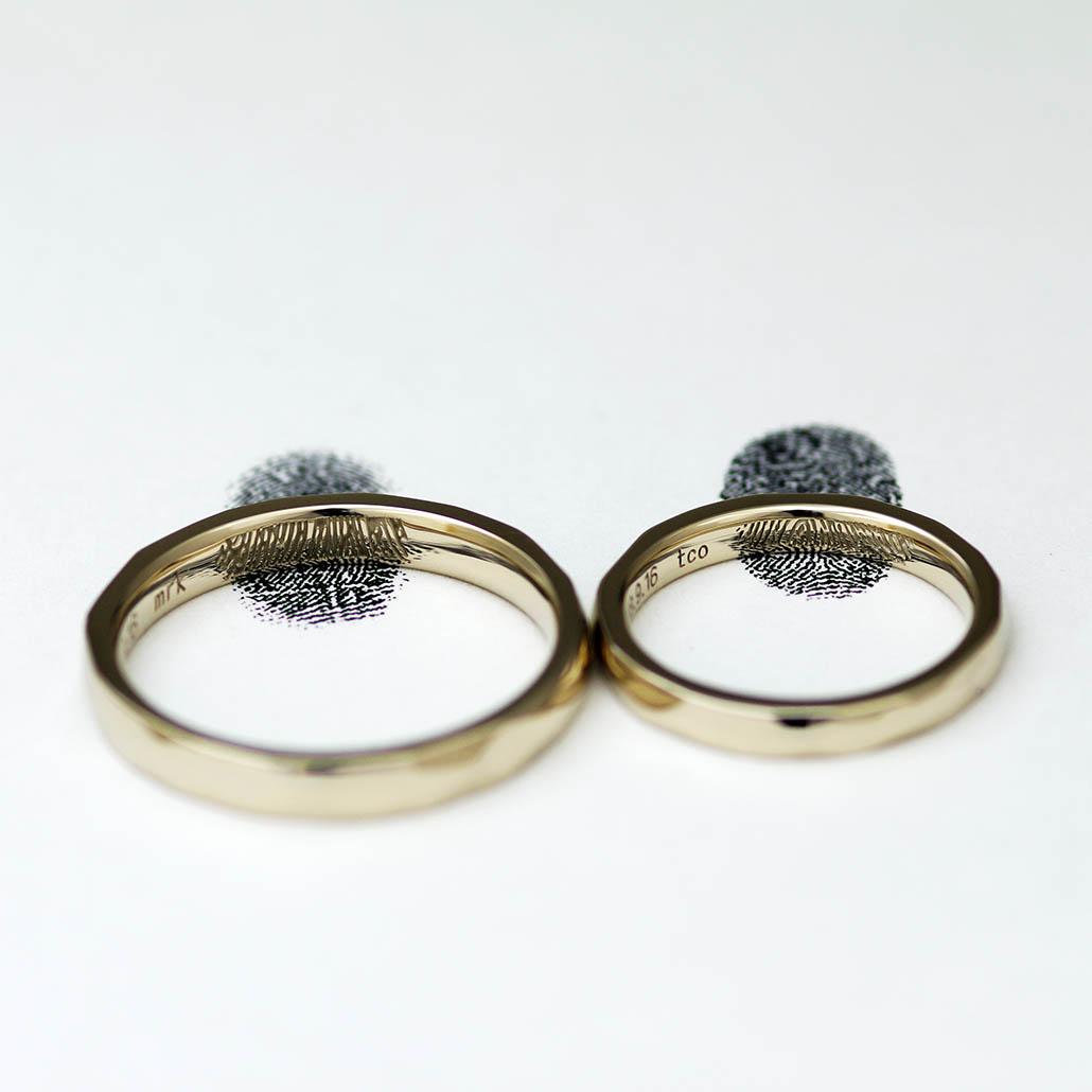 指輪の内側に指紋を刻印した結婚指輪