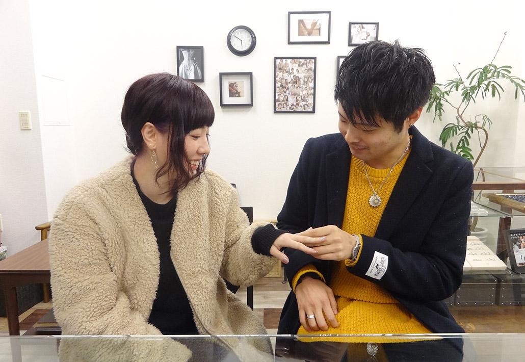 婚約指輪をセミオーダーメイドで作った長岡市在住のカップル