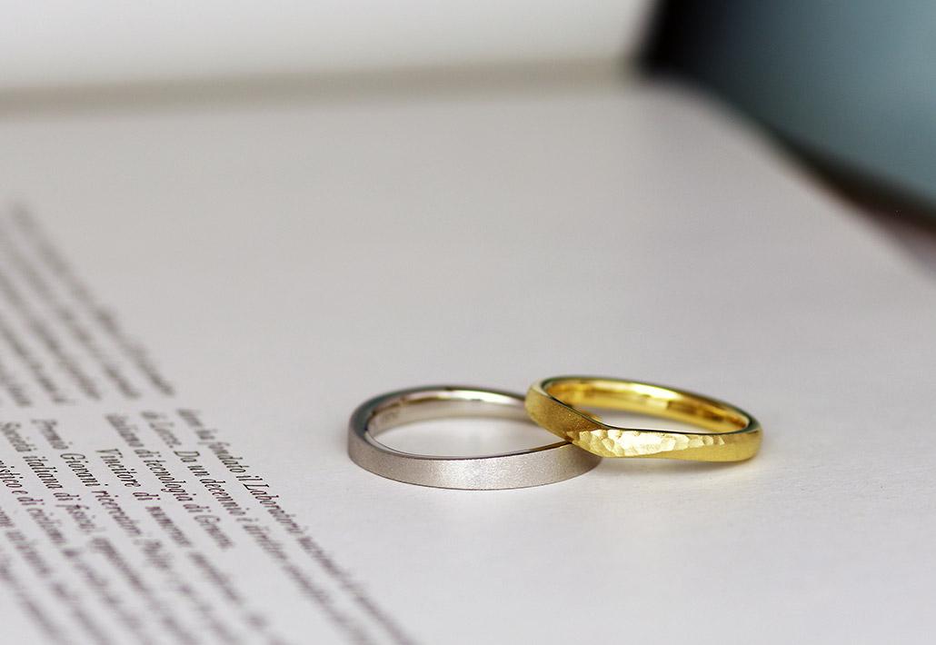 ダイヤバー加工を施したプラチナとイエローゴールドのオーダーメイド結婚指輪(マリッジリング)