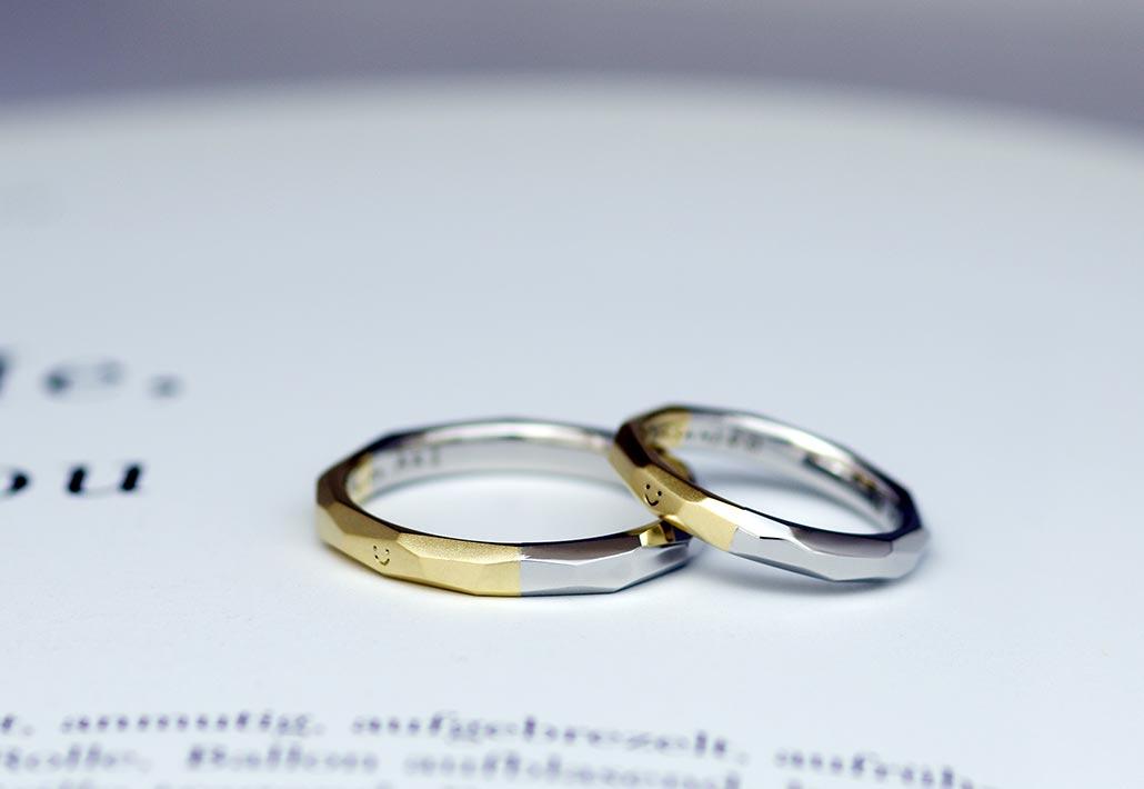 イエローゴールドとプラチナのコンビデザインの結婚指輪(マリッジリング)