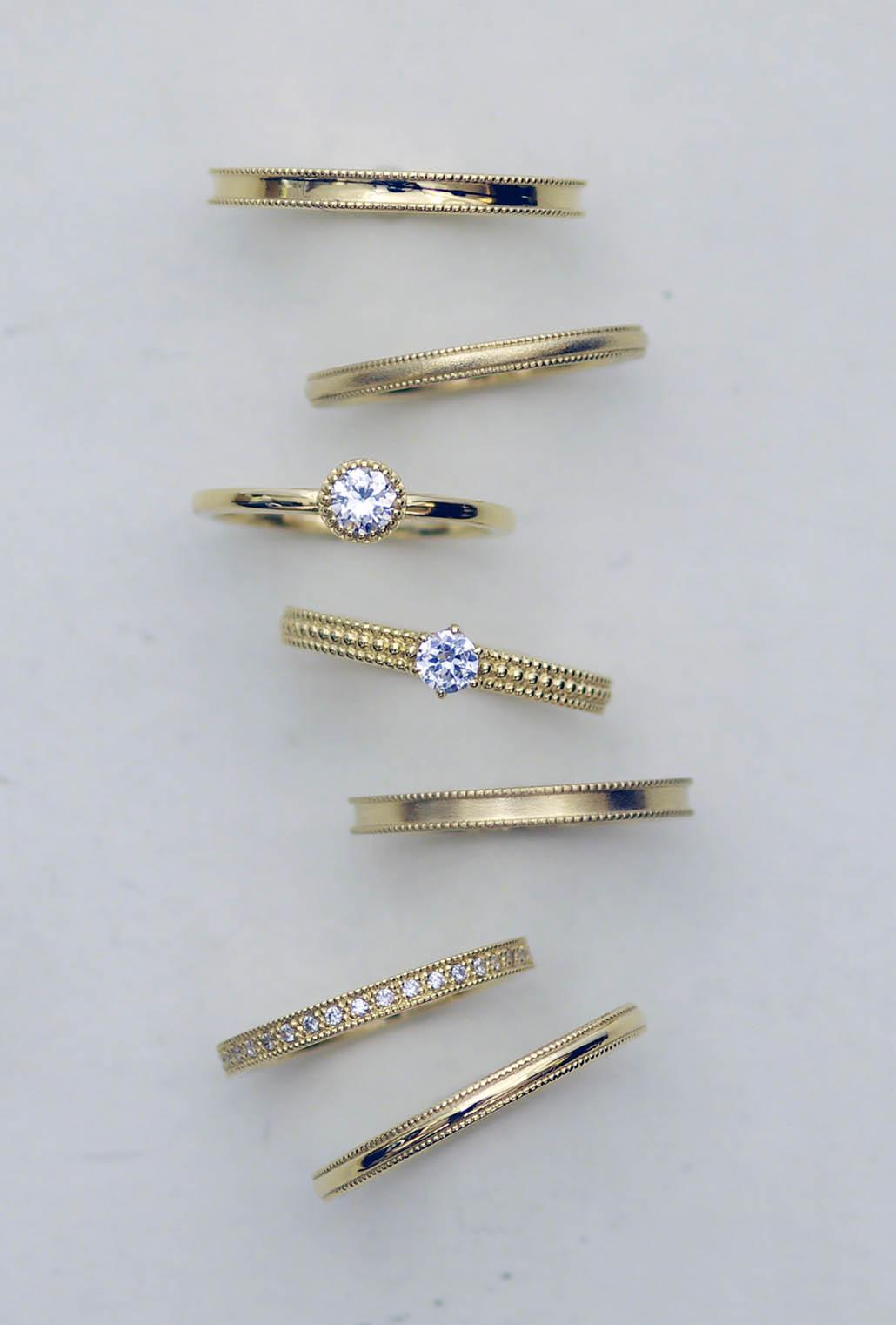 セミオーダーで作るアンティークな結婚指輪と婚約指輪