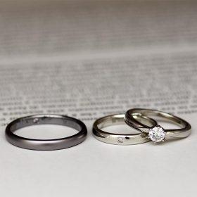 高品質のプラチナとアレルギーフリーのタンタルを使用した結婚指輪(マリッジリング)と婚約指輪(エンゲージリング)のセットリング