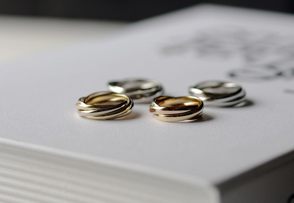 3連リングと5連リングの結婚指輪