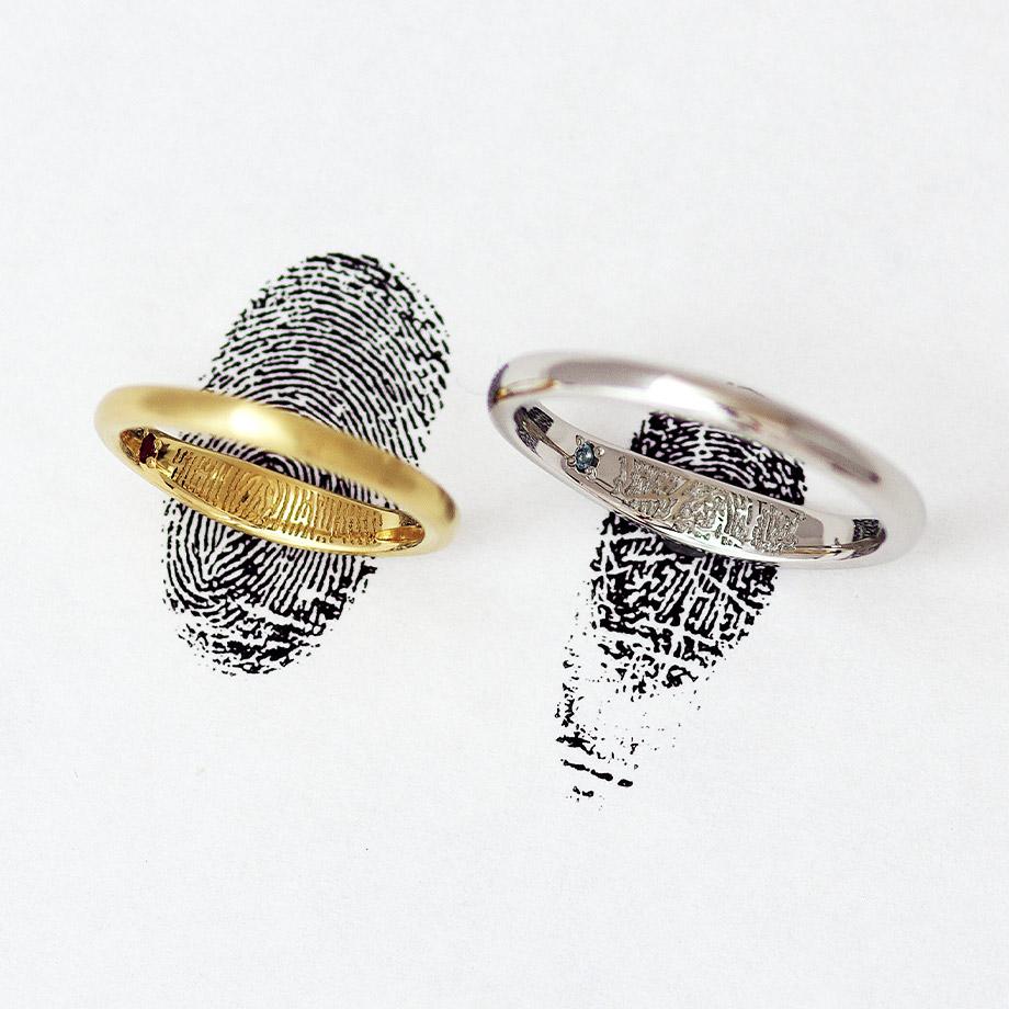 結婚指輪の内側に指紋の彫刻を入れた世界に一つのデザイン