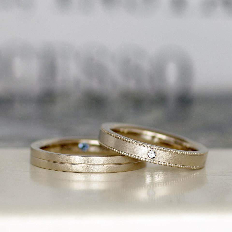 ラインとミル打ちの平打ち結婚指輪