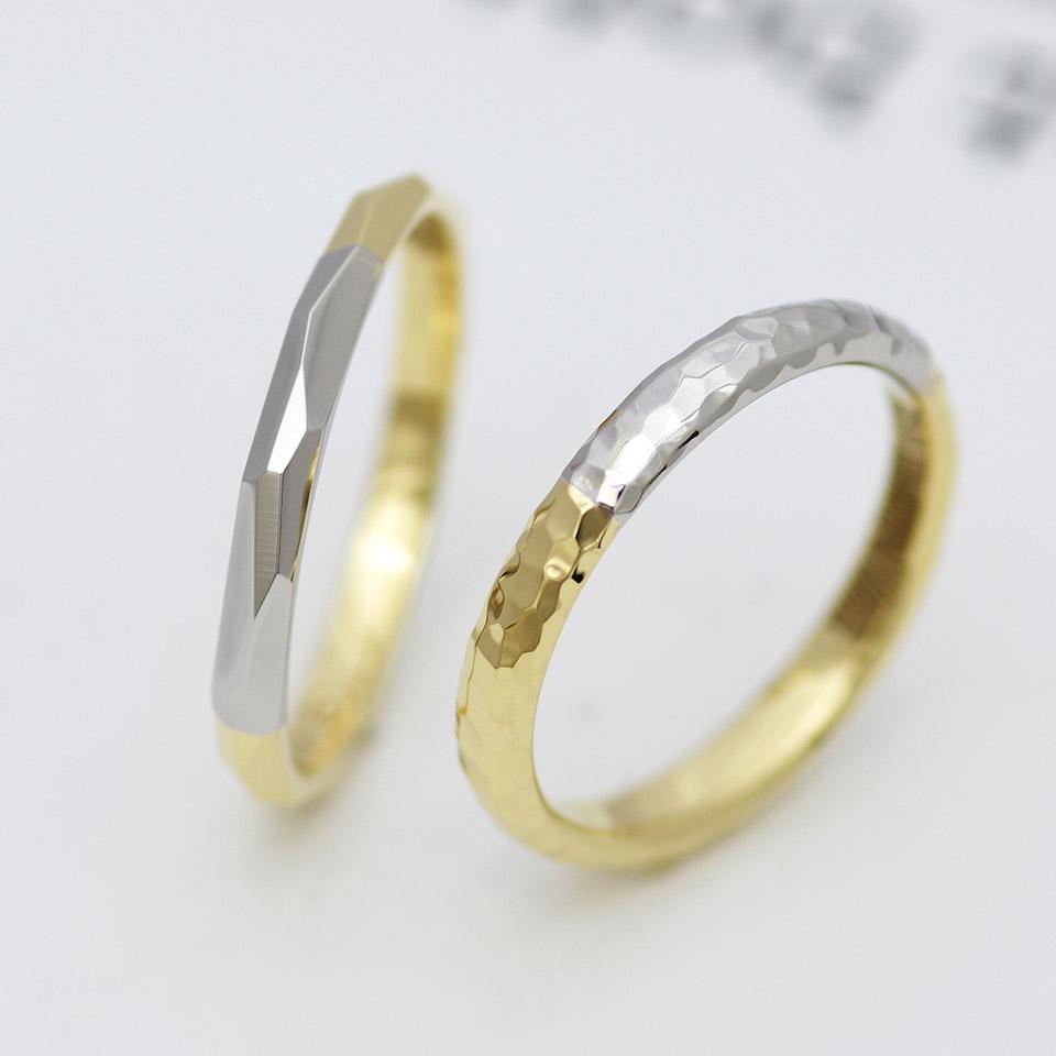 2種類の地金を使った鏡面仕上げの結婚指輪