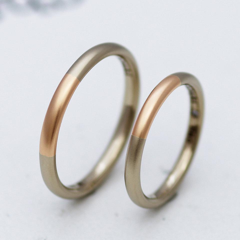 ブラウンゴールドとピンクゴールドのコンビデザインの結婚指輪