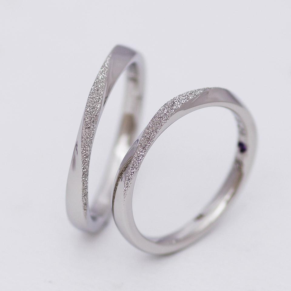 スターダスト加工のS字ウェーブの結婚指輪