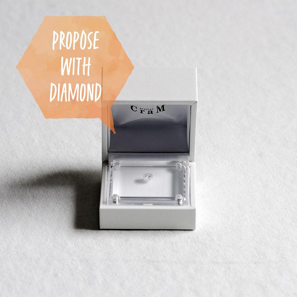 ダイヤモンドの粒でプロポーズ