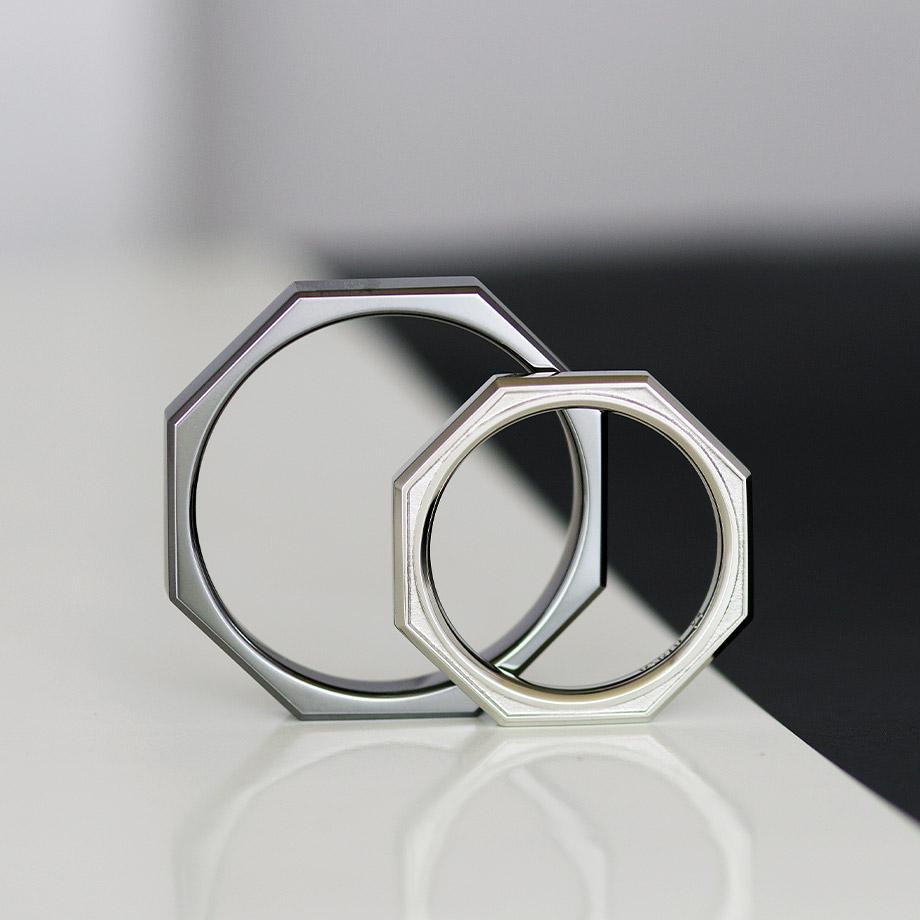 八角形のタンタル結婚指輪