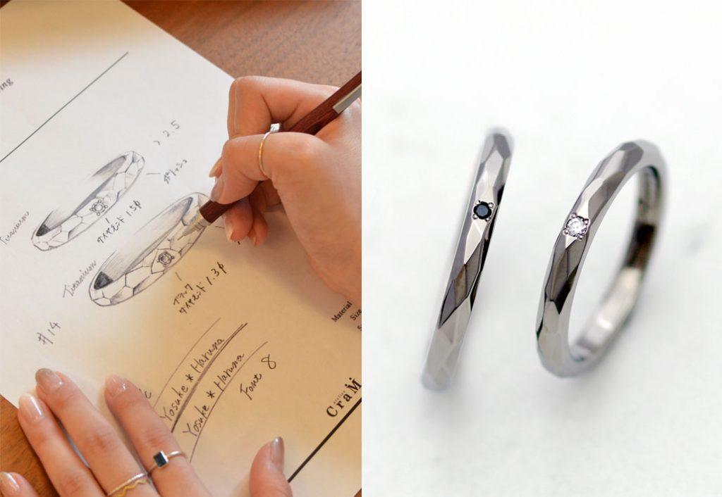 フルオーダーメイドのチタン製マリッジリング(結婚指輪)