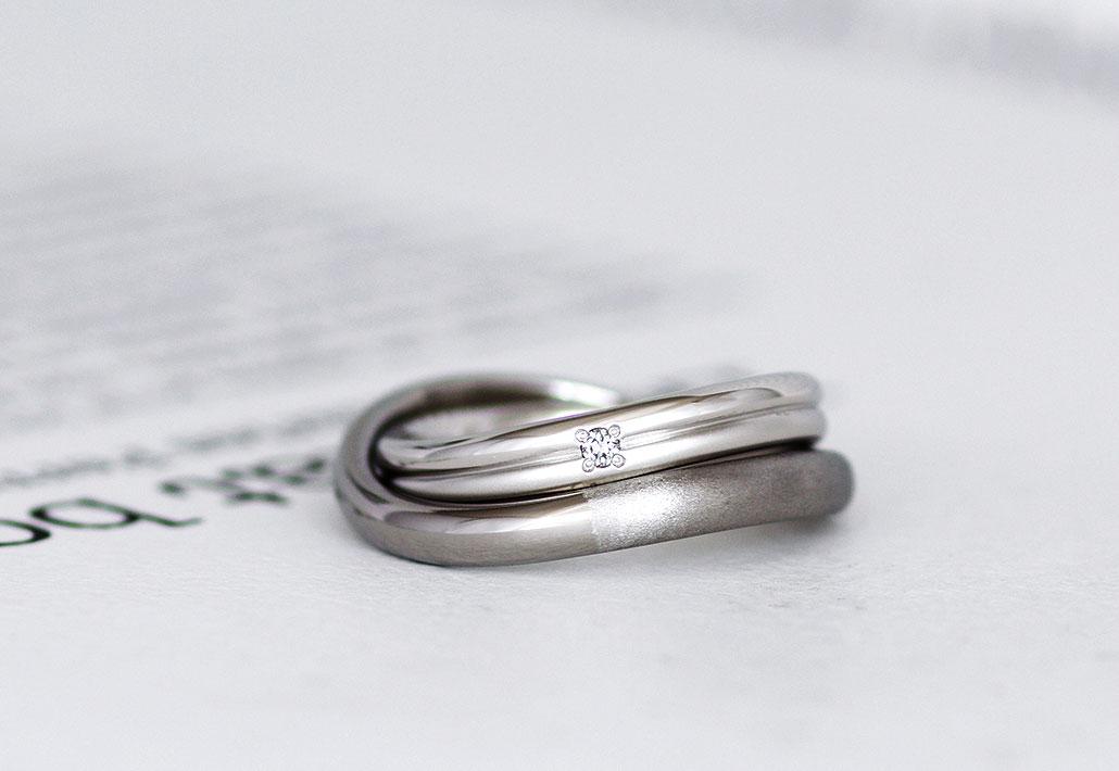 金属アレルギー対応のチタンとプラチナの結婚指輪(マリッジリング)