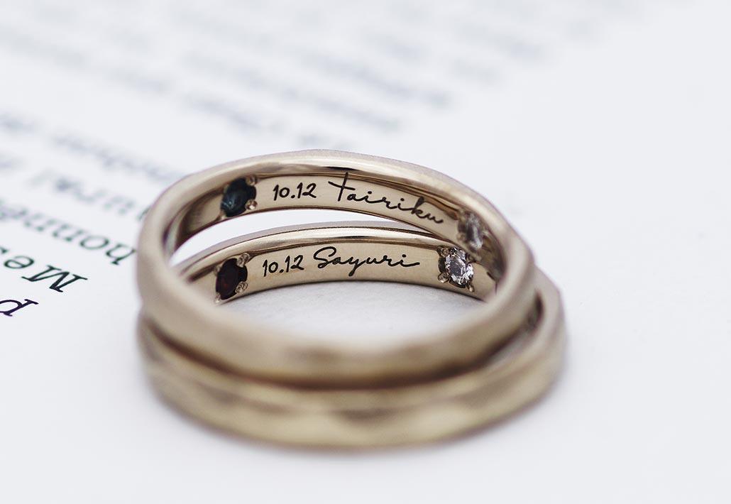 アトリエクラム長岡店で手作りされたブラウンゴールドの結婚指輪(マリッジリング)