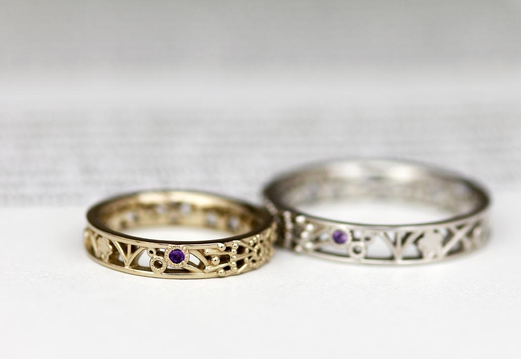アトリエクラム長岡店でオーダーされた花火デザインの結婚指輪(マリッジリング)