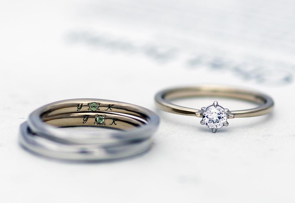 アトリエクラム長岡店でカスタムオーダーコースで製作された婚約指輪(エンゲージリング)と結婚指輪(マリッジリング)