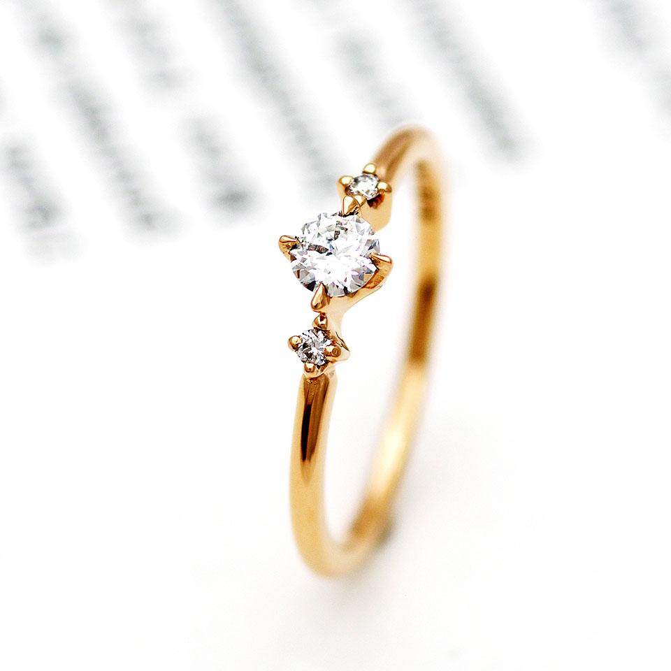 ピンクゴールドのストレートデザインの婚約指輪(エンゲージリング)
