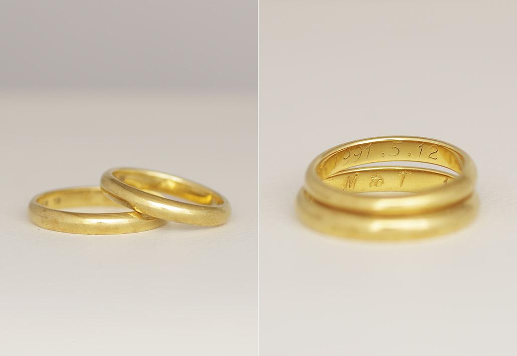 ご両親から引き継いだリメイク用の結婚指輪(マリッジリング)