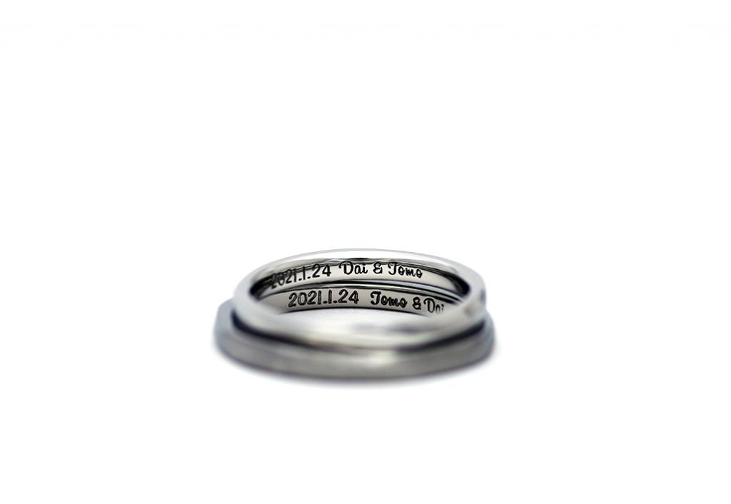 チタンの結婚指輪/裏面刻印