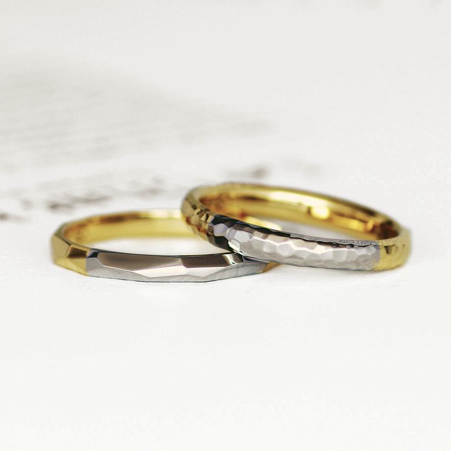 プラチナと18金のコンビ加工をした結婚指輪