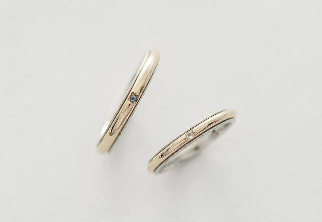 2種類の地金を使用した結婚指輪