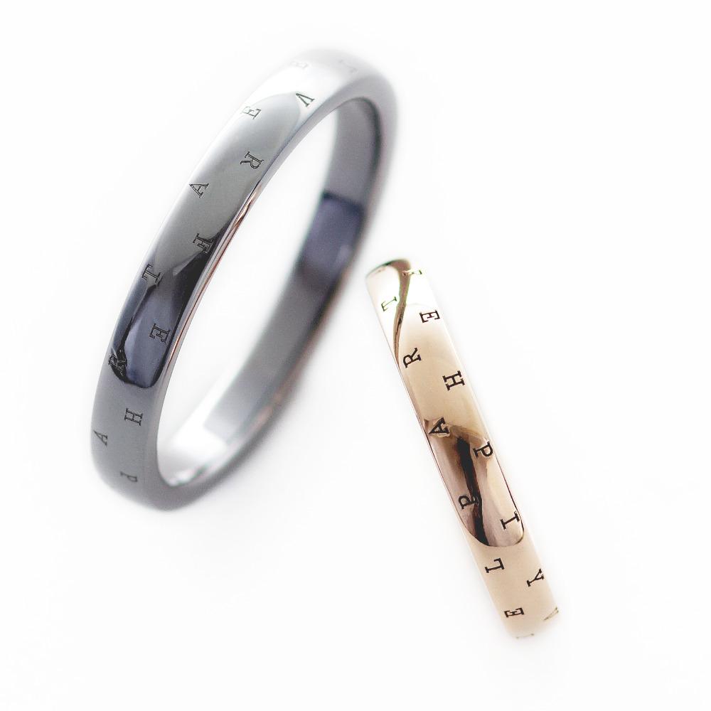 リング表面にメッセージを刻印したタンタルとK18ピンクゴールドのリング