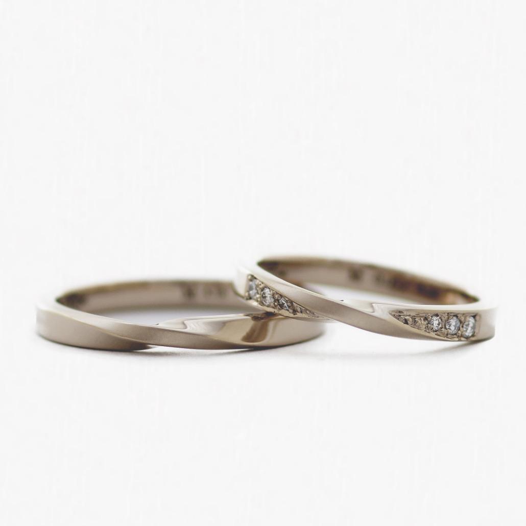 鍛造製法の手作り結婚指輪/K18ブラウンゴールド