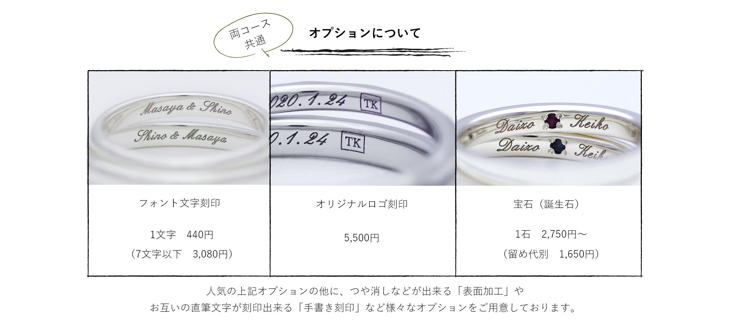 オプションについて。つや消しなどが出来る「表面加工」やお互いの直筆文字が刻印出来る「手書き刻印」など様々なオプションをご用意しております。